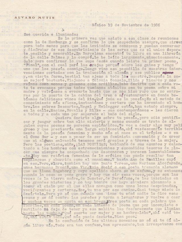 Carta Álvaro Mutis 1