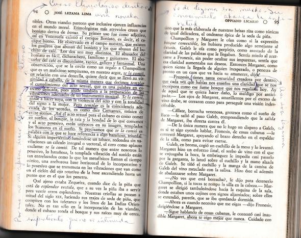 Oppiano Licario con mis subrayados y notas (lectura de 1979 con veinte años)