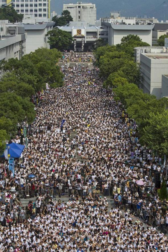 Students and teachers attend a rally during the class boycott at the Chinese University of Hong Kong, in Hong Kong