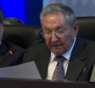 El presidente cubano, Raúl Castro, en Panamá