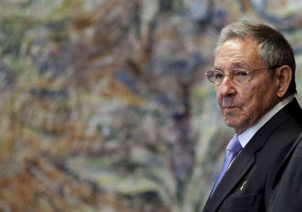 Cuba's President Raul Castro attends a ceremony at the Palace of the Revolution in Havana