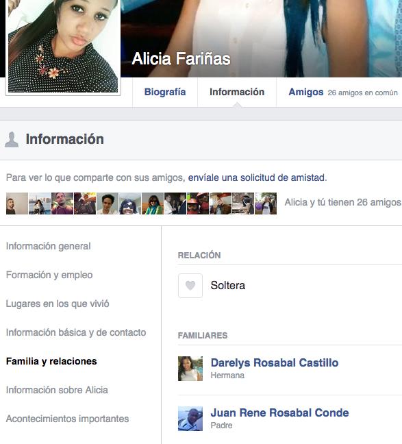 Captura de pantalla del Facebook de Alicia Fariñas donde queda claro que su padre es Juan René Rosabal Conde